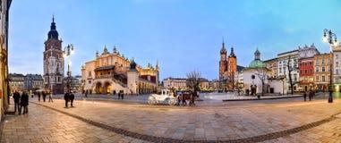 Krakow huvudsaklig fyrkant Arkivbild