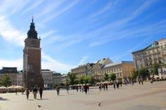 Krakow huvudsaklig marknadsfyrkant Fotografering för Bildbyråer