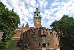 Krakow i Wawel kasztel od deptaka Zdjęcie Stock