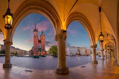 Krakow. Image of Krakow Market square, Poland during sunrise Stock Image