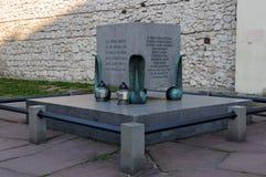 krakow Kazimierz En monument till Polesna dödade i 1943 Arkivfoto