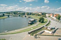 Krakow linia horyzontu Powietrzna panorama Zdjęcia Stock