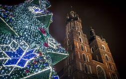Krakow Main Market Christmas Tree, Poland Stock Photos