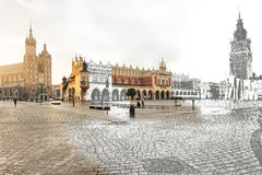 Krakow, Main Market Square, half a sketch half picture. Panoramic view of the main square in Krakow, partly made in the technique sketch Stock Images