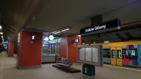 Krakow main railway station. Pan left to right interior stock video footage