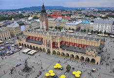 Krakow main square. Aerial view of the Market square of Krakow city, Poland royalty free stock image