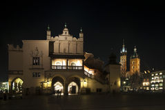 Krakow main square at night Royalty Free Stock Images
