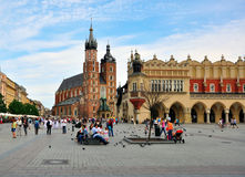 Krakow main square. KRAKOW, POLAND - JULY 20: Main Square of Krakow historical centre on July 20, 2012. Krakow is one the most beautiful and visited cities of Royalty Free Stock Image