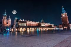 Krakow The Main Square. World Famous Cracow Main Square Old Town at Night. Polish Architecture. Lesser Poland stock photos