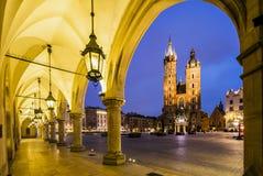 Krakow market square at dawn, Poland, Europe Royalty Free Stock Photos