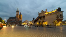 Krakow market square day to night time lapse stock video