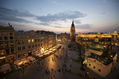 Krakow marknadsfyrkant, Polen royaltyfria bilder