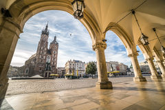 Krakow marknadsfyrkant, Polen Fotografering för Bildbyråer
