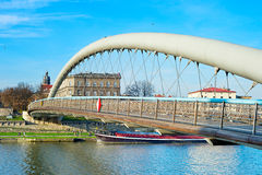 Krakow modern footbridge Royalty Free Stock Photography