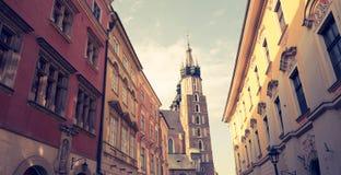 Krakow na rua do Polônia/Florianska fotografia de stock