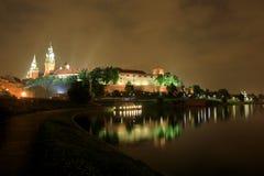 krakow natt poland royaltyfri fotografi