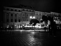 Krakow by night, Market Square. Artistic look in black and white. Royalty Free Stock Photo
