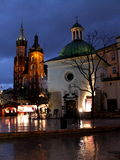 Krakow. By night in Poland Royalty Free Stock Photography