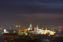 Krakow in the night, Poland Stock Photo