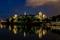 Krakow at night. Wawel Castle Royalty Free Stock Images