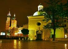 krakow nighttime arkivfoton