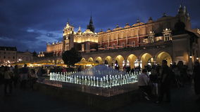 Krakow Old Town Market Square at Night stock video footage