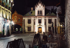 Krakow Old Town at night. Lord's Transfiguration Church, Pijarska street stock image