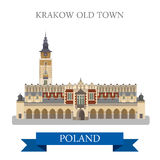 Krakow Old Town Poland Europe flat vector attraction landmark. Krakow Old Town in Poland. Flat cartoon style historic sight showplace attraction web site vector Royalty Free Stock Photos