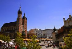 Krakow, Old Town and St Mary`s Church Royalty Free Stock Image