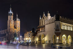 Krakow panorama at night. St. Mary's Basilica and Market Square at night, Old Town, Krakow Stock Photo