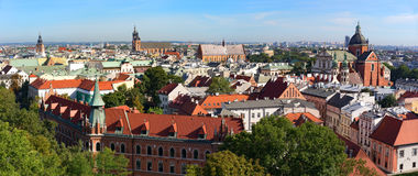 Krakow panorama. Krakow skyline from the tower of Wawel Castel, Poland Royalty Free Stock Images