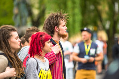 KRAKOW -  participants of the March For Cannabis Liberation. Royalty Free Stock Image
