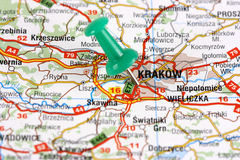 Krakow pinned on map Royalty Free Stock Photo