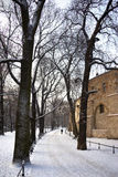 Krakow - The Planty - Winter - Poland stock photography