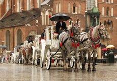 Krakow, Polônia - 9 3 2019: Uma linha de transportes puxados a cavalo está no tempo chuvoso no quadrado perto da igreja do St Mar fotografia de stock