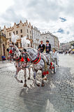 Krakow, Poland – September 12, 2015: Picturesque horse carriage. Royalty Free Stock Photography
