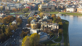 KRAKOW, POLAND - Aerial view of one of districts in historical center of Krakow. KRAKOW, POLAND - CIRCA OCT, 2013: Aerial view of one of districts in historical royalty free stock image