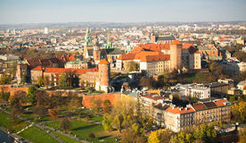 KRAKOW, POLAND -  Aerial view of Royal Wawel castle with park. Royalty Free Stock Images