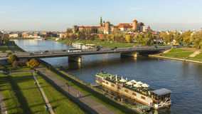 KRAKOW, POLAND - Aerial view of the Vistula River in the historic city center. Stock Photography