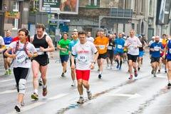 KRAKOW, POLAND - APRIL 28 : Cracovia Marathon. Runners on the city streets Stock Photography