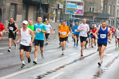 KRAKOW, POLAND - APRIL 28 : Cracovia Marathon. Runners on the city streets Royalty Free Stock Photos