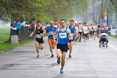 KRAKOW, POLAND - APRIL 28 : Cracovia Marathon. Runners on the city streets Royalty Free Stock Photography