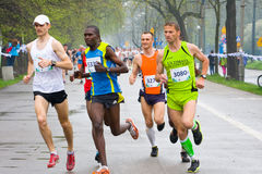 KRAKOW, POLAND - APRIL 28 : Cracovia Marathon. Runners on the city streets Stock Image