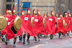 KRAKOW, POLAND - APRIL 28 : Cracovia Marathon. Spartans Children charity group speed on the city streets Stock Photography