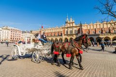 Krakow medieval Old Town Main Square stock image