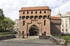 Krakow barbican is a barbican`s fortified outpost Royalty Free Stock Photo
