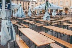 KRAKOW, POLAND, April 21, 2018, A lot of portable empty tables a stock photo