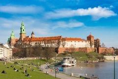 KRAKOW, POLAND - APRIL 7, 2018: Wawel Royal Castle and Vistula river in Krakow, Poland royalty free stock photography