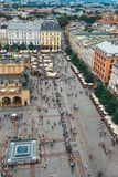 Aerial view on the central square of Krakow, Poland. Krakow, Poland, August 14, 2016: Aerial view on the central square of Krakow, Poland stock photography