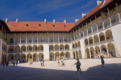 KRAKOW, POLAND - AUGUST 1, 2015: The courtyard of the Wawel on 1 Royalty Free Stock Photos
